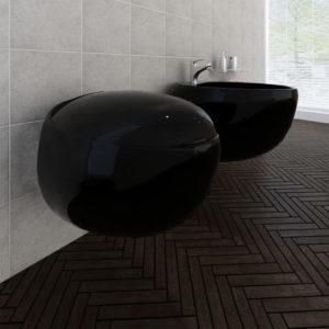 Seinalekinnituv WC pott + bidee keraamiline must