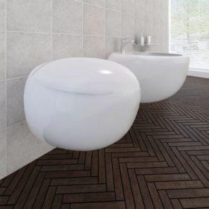 Seinalekinnituv WC pott + bidee keraamiline valge