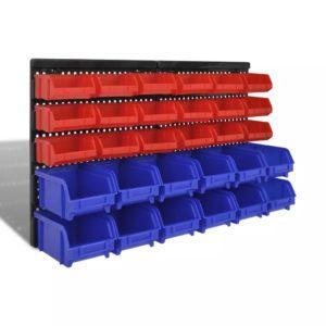 Seinalekinnituv hoiukarpide komplekt garaaži 30 tk sinine & punane