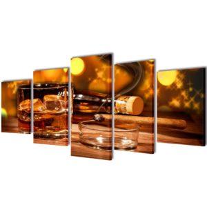 Seinamaalikomplekt lõuendil viski ja sigariga