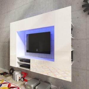 Valge kõrgläikega meelelahutuskeskus LED-tuledega
