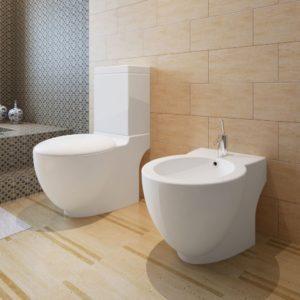 Valge keraamilise alusel tualettpoti ja bidee komplekt