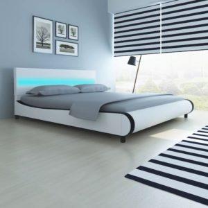 Valge kunstnahast polsterdusega voodi LED-tuledega peatsis 180 cm