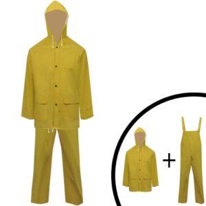 Veekindel vastupidav kaheosaline kapuutsiga vihmaülikond kollane XL