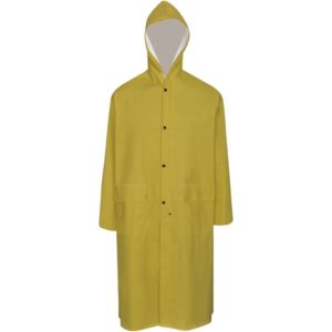 Veekindel vastupidav kapuutsiga vihmamantel kollane L