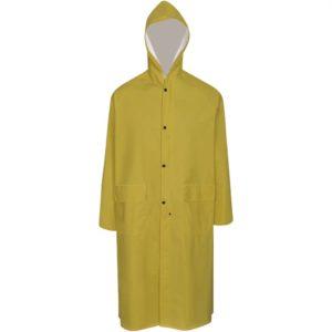 Veekindel vastupidav kapuutsiga vihmamantel kollane XL
