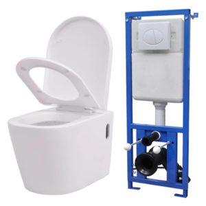 VidaXLi seinale kinnituv peidetud loputuskastiga valge WC-pott