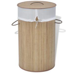 bambusest ümmargune pesukorv