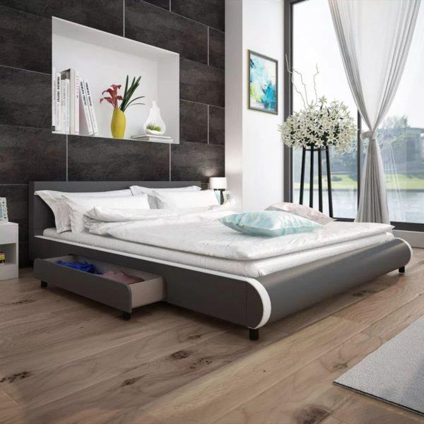 hall kunstnahast voodi kahe sahtliga 180 x 200 cm