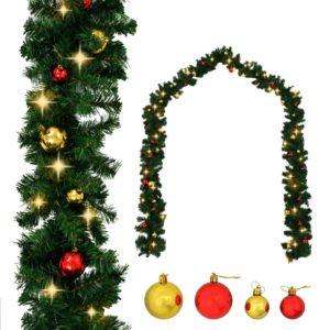 jõulukuulide ja LED-tuledega kaunistatud jõuluvanik 5 m