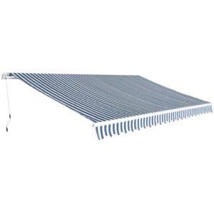 käsitsi lahtitõmmatav varikatus 500 cm sinine ja valge