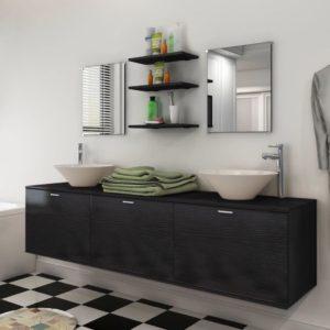 kümneosaline kraani ja valamuga vannitoamööbli komplekt