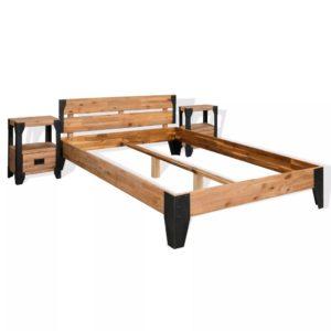 kahe öökapiga akaatsiapuidust voodiraam
