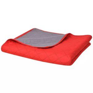 kahepoolne tepitud voodikate punane ja hall 230 x 260 cm