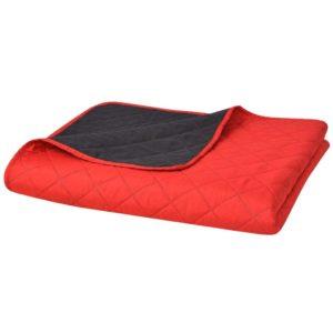 kahepoolne tepitud voodikate punane ja must 220 x 240 cm