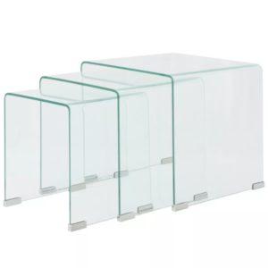 kolm üksteise alla mahtuvat karastatud klaasist lauda