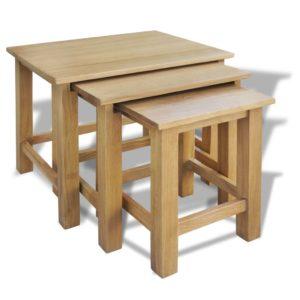 kolm üksteise alla mahtuvat tammepuidust lauda