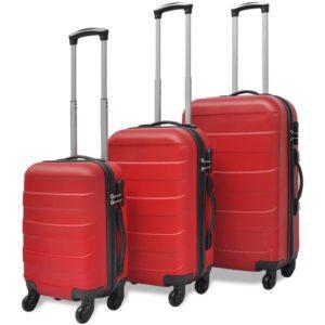 kolmeosaline kõvakattega kohvrite komplekt punane