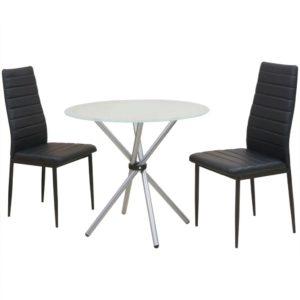 kolmeosaline söögilaua ja toolide komplekt