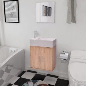 kolmeosaline vannitoa mööbli- ja valamukomplekt