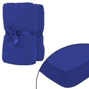 kummiga voodilina 2 tk puuvill 180 x 200 - 200 x 220 cm sinine