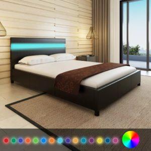 kunstnahast voodi LED-tuledega 140 x 200 cm