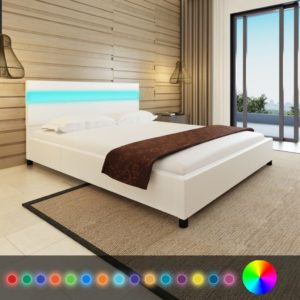kunstnahast voodi LED-tuledega 160 x 200 cm