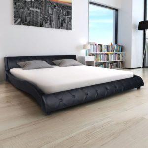 kunstnahast voodiraam 140 x 200 cm must