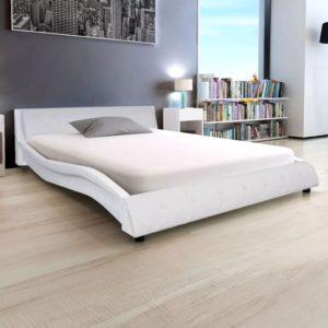kunstnahast voodiraam 140 x 200 cm valge