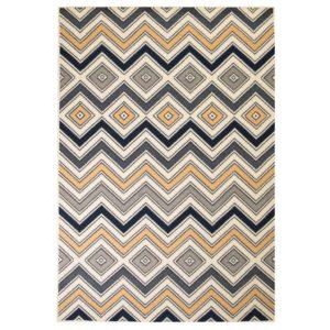 moodne siksak-disainiga vaip 120 x 170 cm pruun/must/sinine