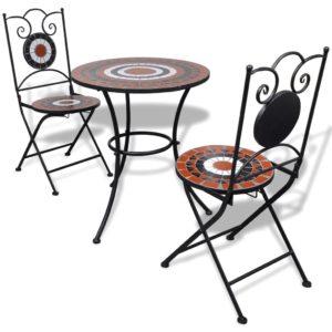 mosaiikmustriga aialaud ja 2 tooli