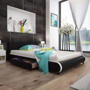 must kunstnahast voodi kahe sahtliga 140 x 200 cm