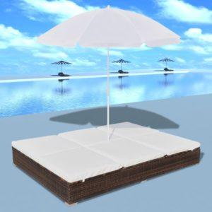 päevavarjuga päevitustool polürotangist