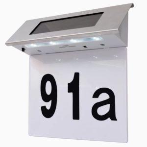 päikesepatareiga LED majanumber roostevabast terasest