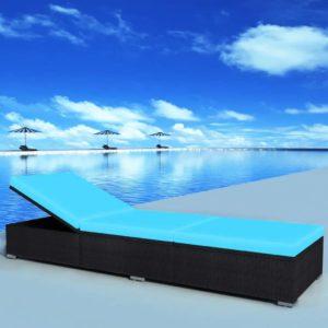 polürotangist päevitustool 195 x 60 x 31 cm must ja sinine