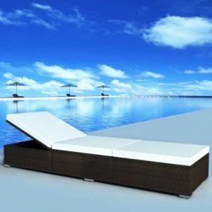 polürotangist päevitustool 195 x 60 x 31 cm pruun ja valge