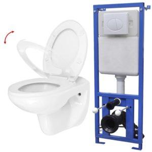 seinale kinnitatav WC-pott loputuskastiga
