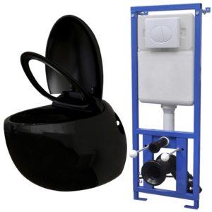 seinale kinnituv munadisainiga peidetud loputuskastiga must WC-pott