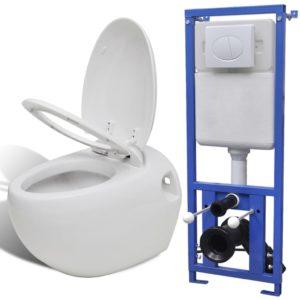 seinale kinnituv munadisainiga peidetud loputuskastiga valge WC-pott