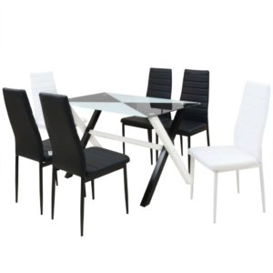 seitsmeosaline söögilaua ja kunstnahast toolide komplekt