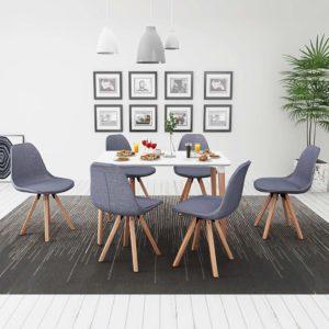 seitsmeosaline söögilaua ja toolide komplekt valge ja helehall