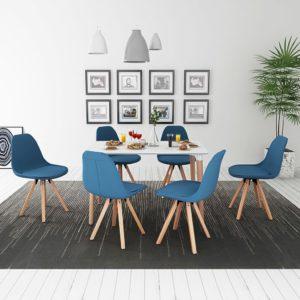 seitsmeosaline söögilaua ja toolide komplekt valge ja sinine