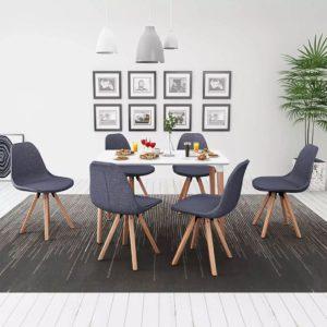 seitsmeosaline söögilaua ja toolide komplekt valge ja tumehall
