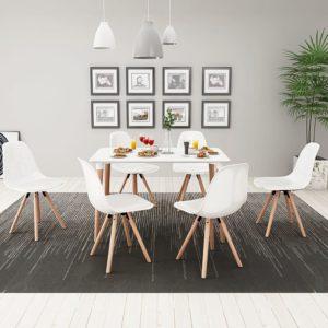 seitsmeosaline söögilaua ja toolide komplekt valge