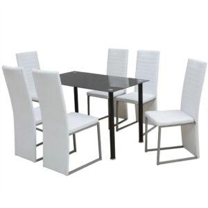 seitsmeosaline söögitoakomplekt valge ja must