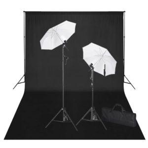 stuudiokomplekt: must taust 600 x 300 cm ja valgustid