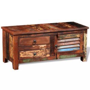 taaskasutatud puidust TV-kapp 1 ukse ja 2 sahtliga