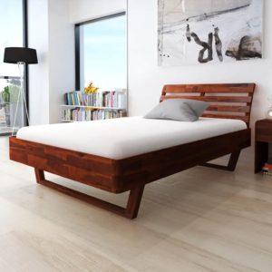 toekast akaatsiapuidust voodiraam 140 x 200 cm