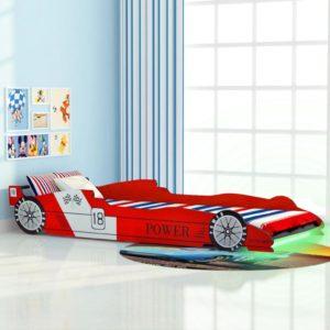 võidusõiduauto kujuga lastevoodi 90 x 200 cm punane