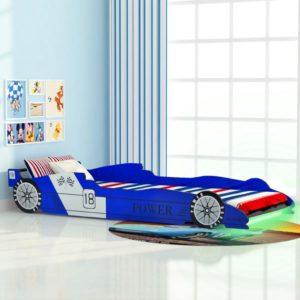 võidusõiduauto kujuga lastevoodi 90 x 200 cm sinine